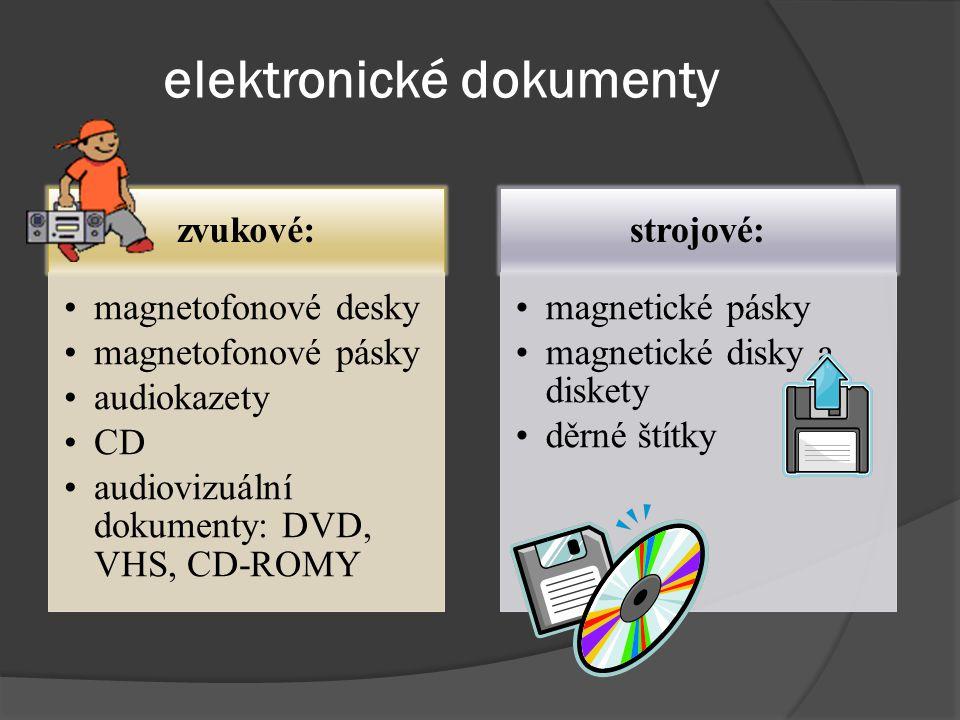 elektronické dokumenty zvukové: magnetofonové desky magnetofonové pásky audiokazety CD audiovizuální dokumenty: DVD, VHS, CD-ROMY strojové: magnetické pásky magnetické disky a diskety děrné štítky