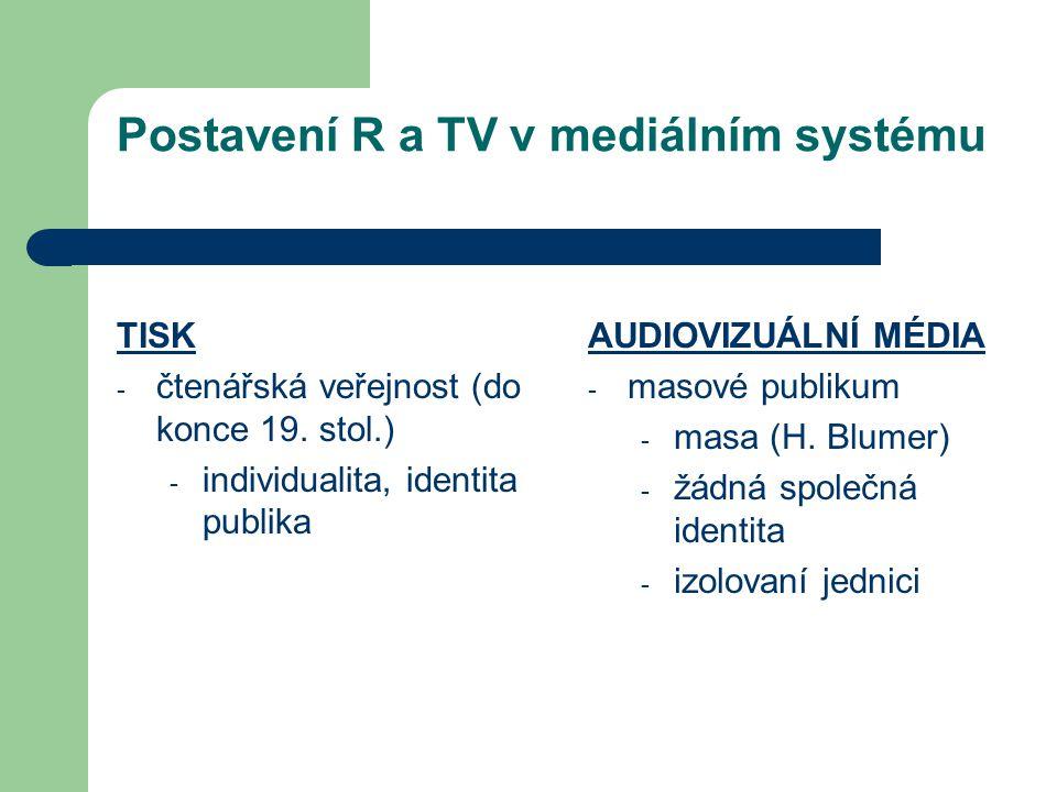Postavení R a TV v mediálním systému TISK - čtenářská veřejnost (do konce 19. stol.) - individualita, identita publika AUDIOVIZUÁLNÍ MÉDIA - masové pu