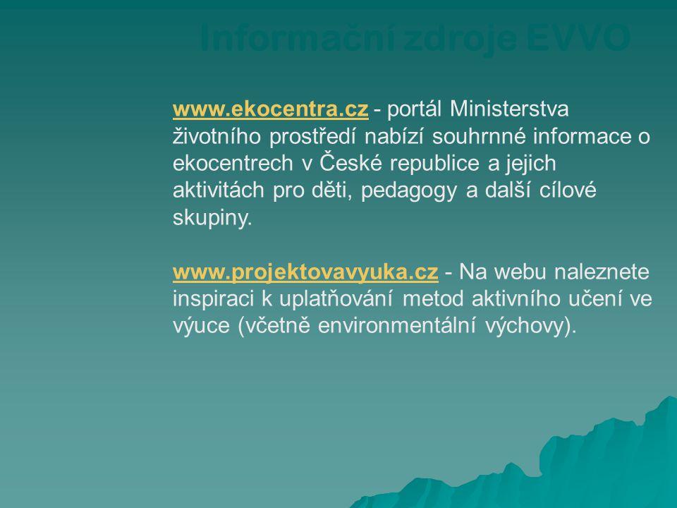 www.ekocentra.czwww.ekocentra.cz - portál Ministerstva životního prostředí nabízí souhrnné informace o ekocentrech v České republice a jejich aktivitá