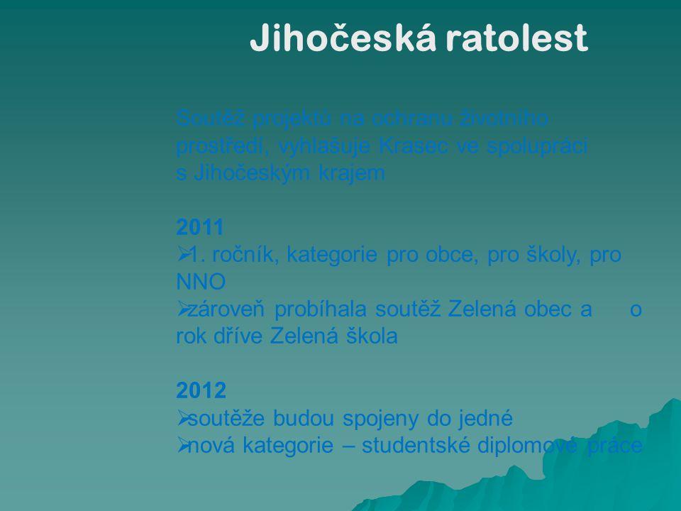 Soutěž projektů na ochranu životního prostředí, vyhlašuje Krasec ve spolupráci s Jihočeským krajem 2011  1. ročník, kategorie pro obce, pro školy, pr