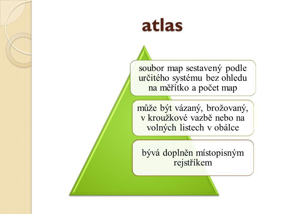 atlas soubor map sestavený podle určitého systému bez ohledu na měřítko a počet map může být vázaný, brožovaný, v kroužkové vazbě nebo na volných listech v obálce bývá doplněn místopisným rejstříkem