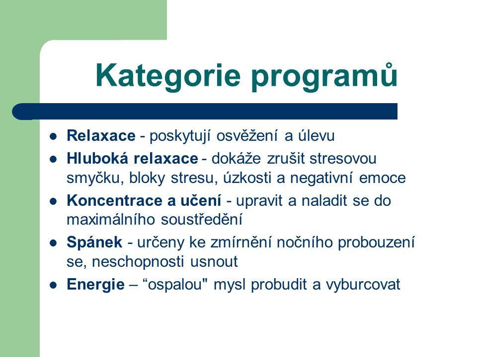 Kategorie programů Relaxace - poskytují osvěžení a úlevu Hluboká relaxace - dokáže zrušit stresovou smyčku, bloky stresu, úzkosti a negativní emoce Koncentrace a učení - upravit a naladit se do maximálního soustředění Spánek - určeny ke zmírnění nočního probouzení se, neschopnosti usnout Energie – ospalou mysl probudit a vyburcovat