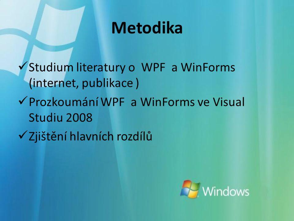 Metodika Studium literatury o WPF a WinForms (internet, publikace ) Prozkoumání WPF a WinForms ve Visual Studiu 2008 Zjištění hlavních rozdílů