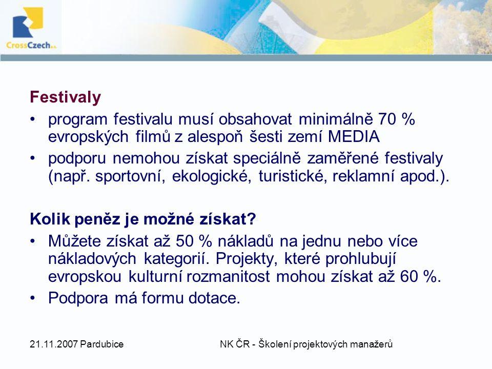 21.11.2007 Pardubice NK ČR - Školení projektových manažerů Festivaly program festivalu musí obsahovat minimálně 70 % evropských filmů z alespoň šesti zemí MEDIA podporu nemohou získat speciálně zaměřené festivaly (např.