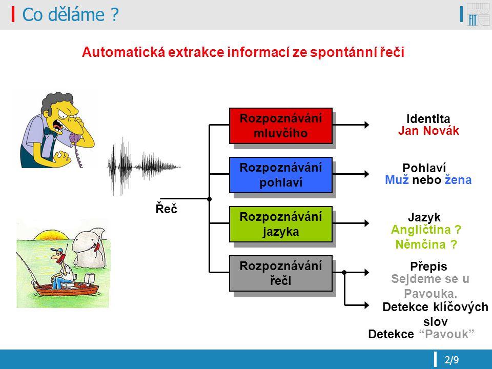 3/9 Přepis řeči na text Voice2text V2T Speech2text S2T Large vocabulary continuous speech recognition LVCSR Výpočet příznaků Vyhodnocení pravděpodobností nebo věrohodností (skóre hypotéz) Akustické modely Dekódování vstuprozhodnutí Jazykový model Výslovnostní slovník Rozponávací SÍŤ