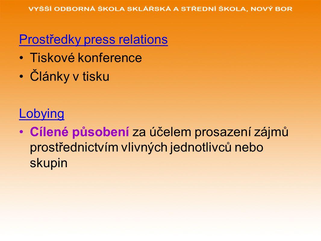 Prostředky press relations Tiskové konference Články v tisku Lobying Cílené působení za účelem prosazení zájmů prostřednictvím vlivných jednotlivců ne