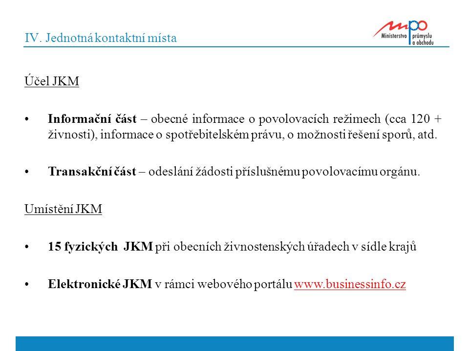IV. Jednotná kontaktní místa Účel JKM Informační část – obecné informace o povolovacích režimech (cca 120 + živnosti), informace o spotřebitelském prá