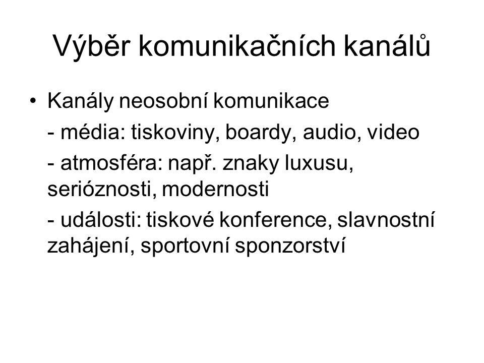 Výběr komunikačních kanálů Kanály neosobní komunikace - média: tiskoviny, boardy, audio, video - atmosféra: např. znaky luxusu, serióznosti, modernost