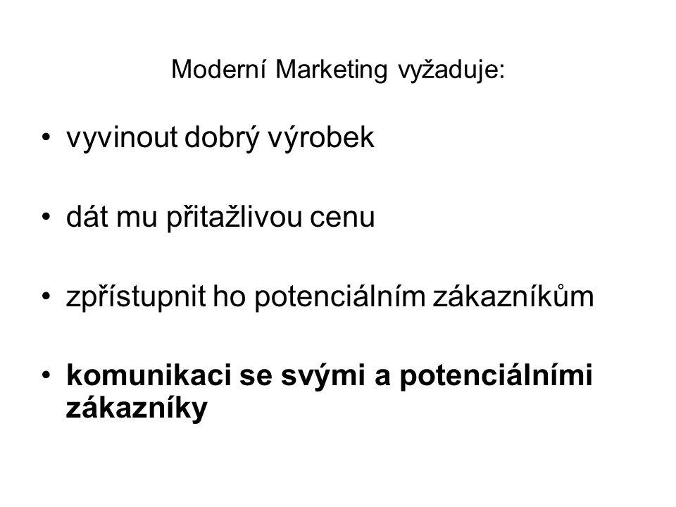 Moderní Marketing vyžaduje: vyvinout dobrý výrobek dát mu přitažlivou cenu zpřístupnit ho potenciálním zákazníkům komunikaci se svými a potenciálními