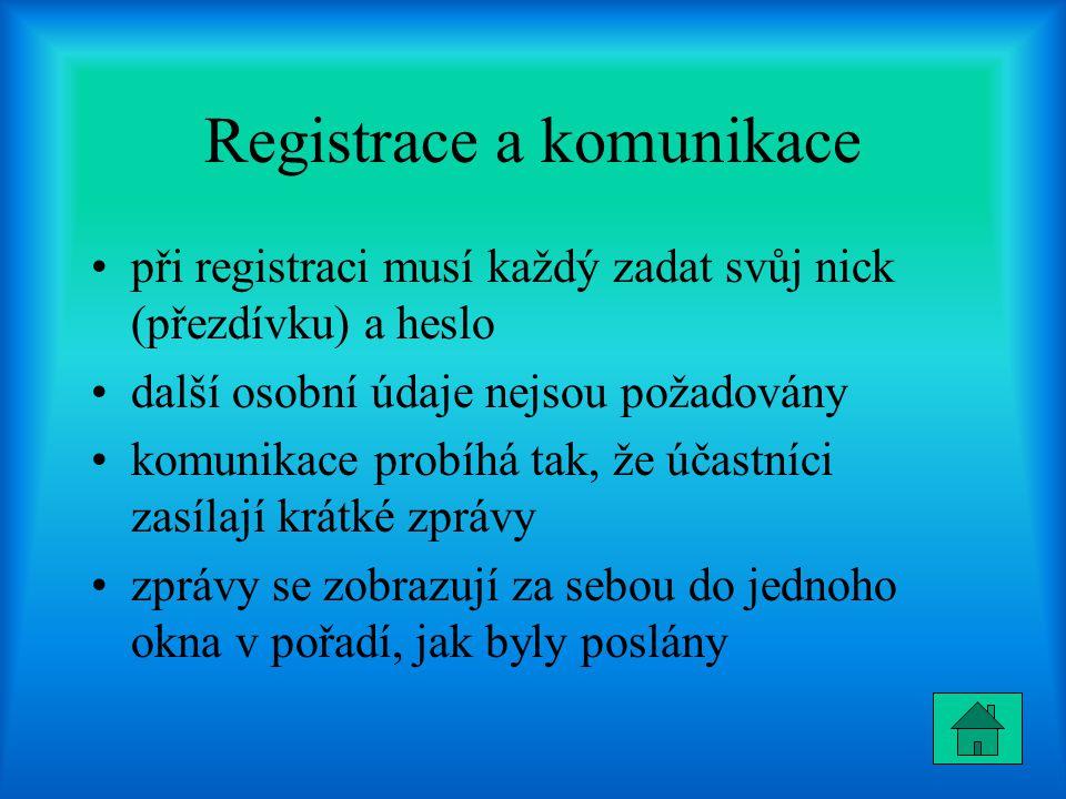 Registrace a komunikace při registraci musí každý zadat svůj nick (přezdívku) a heslo další osobní údaje nejsou požadovány komunikace probíhá tak, že