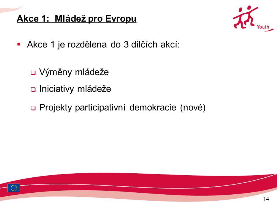 14 Akce 1: Mládež pro Evropu  Akce 1 je rozdělena do 3 dílčích akcí:  Výměny mládeže  Iniciativy mládeže  Projekty participativní demokracie (nové)