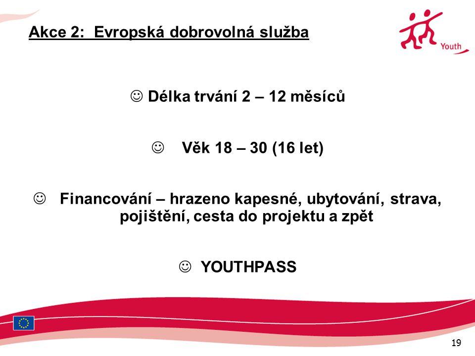 19 Akce 2: Evropská dobrovolná služba Délka trvání 2 – 12 měsíců Věk 18 – 30 (16 let) Financování – hrazeno kapesné, ubytování, strava, pojištění, cesta do projektu a zpět YOUTHPASS