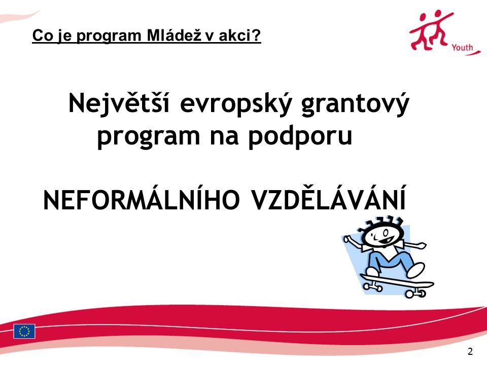 2 Největší evropský grantový program na podporu NEFORMÁLNÍHO VZDĚLÁVÁNÍ Co je program Mládež v akci