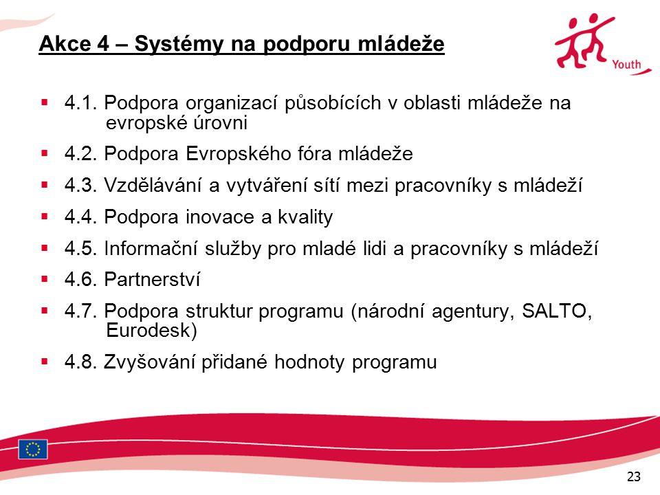 23 Akce 4 – Systémy na podporu mládeže  4.1.
