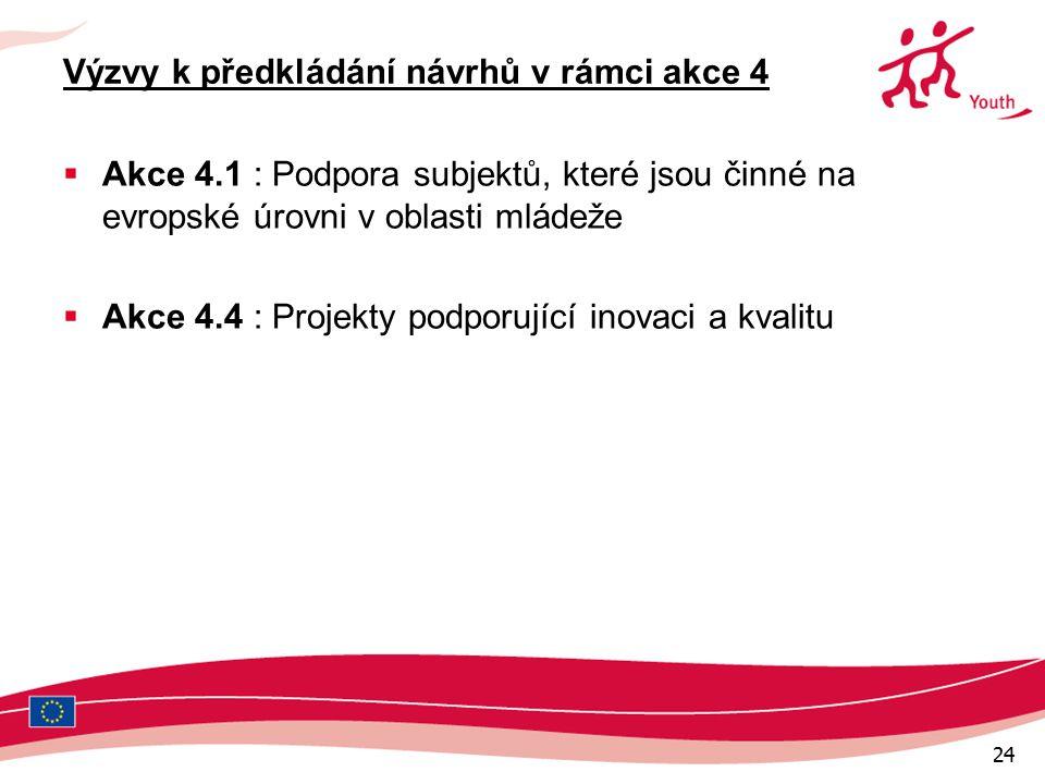 24 Výzvy k předkládání návrhů v rámci akce 4  Akce 4.1 : Podpora subjektů, které jsou činné na evropské úrovni v oblasti mládeže  Akce 4.4 : Projekty podporující inovaci a kvalitu