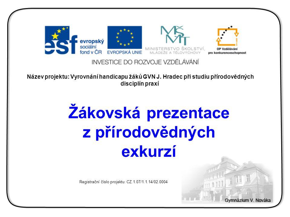 Název projektu: Vyrovnání handicapu žáků GVN J. Hradec při studiu přírodovědných disciplín praxí Žákovská prezentace z přírodovědných exkurzí Registra