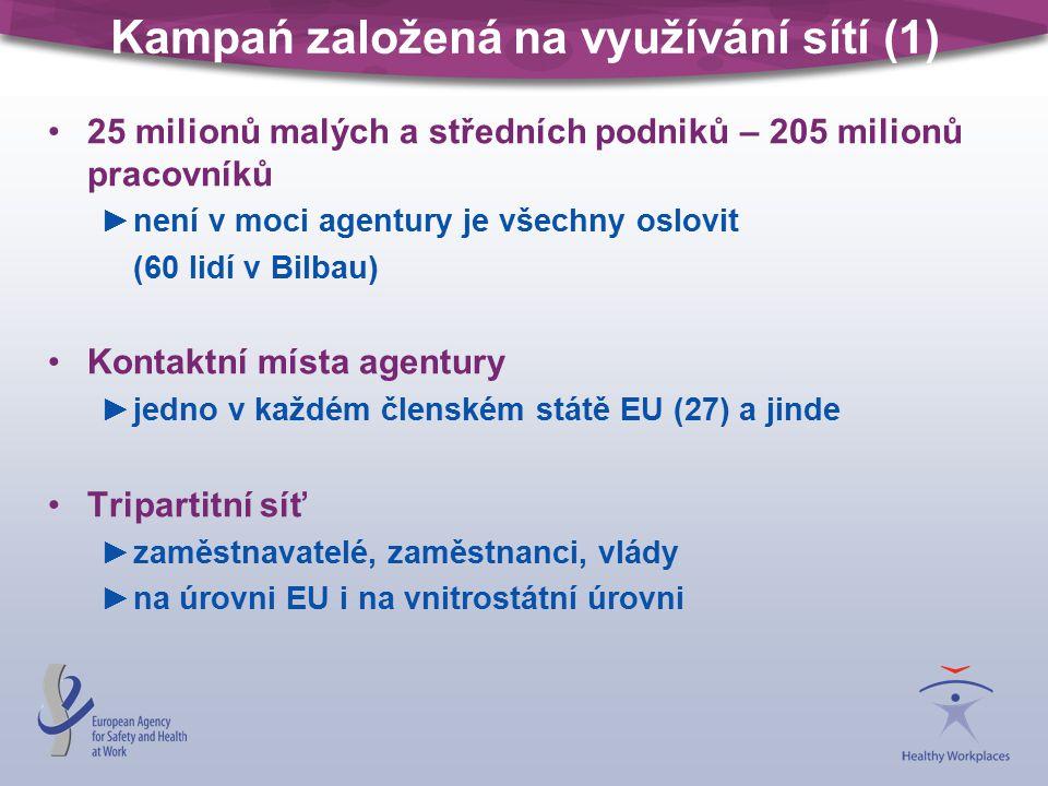 Kampań založená na využívání sítí (1) 25 milionů malých a středních podniků – 205 milionů pracovníků ►není v moci agentury je všechny oslovit (60 lidí v Bilbau) Kontaktní místa agentury ►jedno v každém členském státě EU (27) a jinde Tripartitní síť ►zaměstnavatelé, zaměstnanci, vlády ►na úrovni EU i na vnitrostátní úrovni
