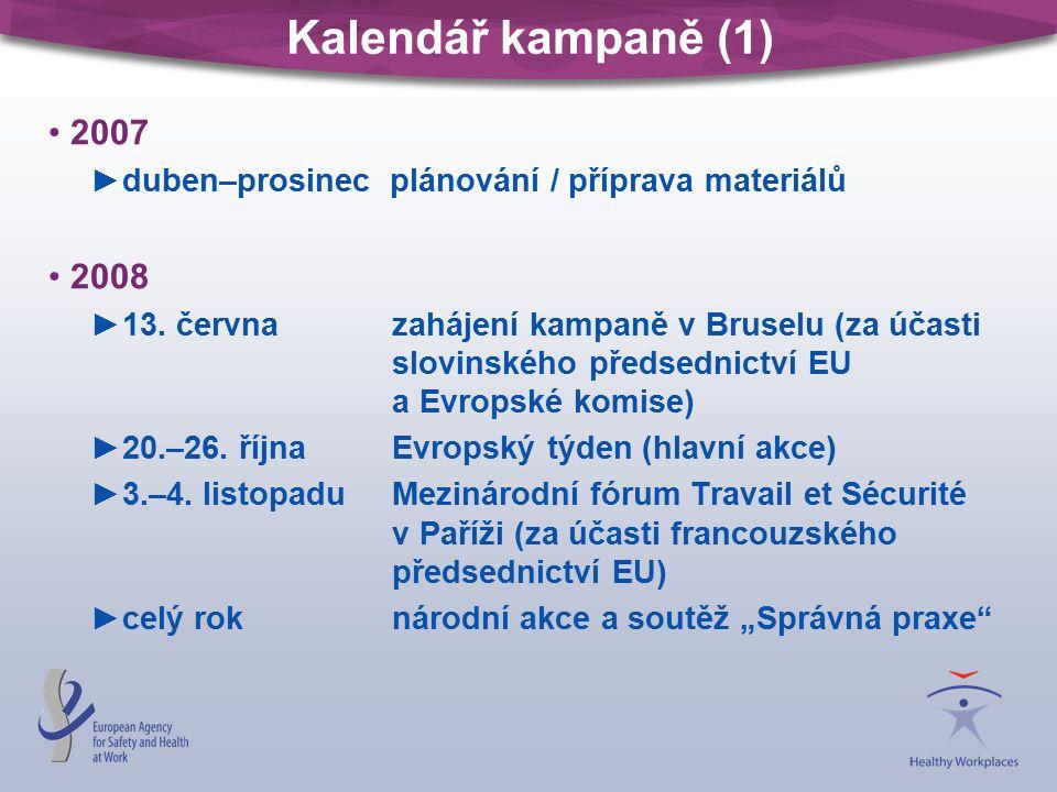 Kalendář kampaně (1) 2007 ►duben–prosinec plánování / příprava materiálů 2008 ►13. června zahájení kampaně v Bruselu (za účasti slovinského předsednic