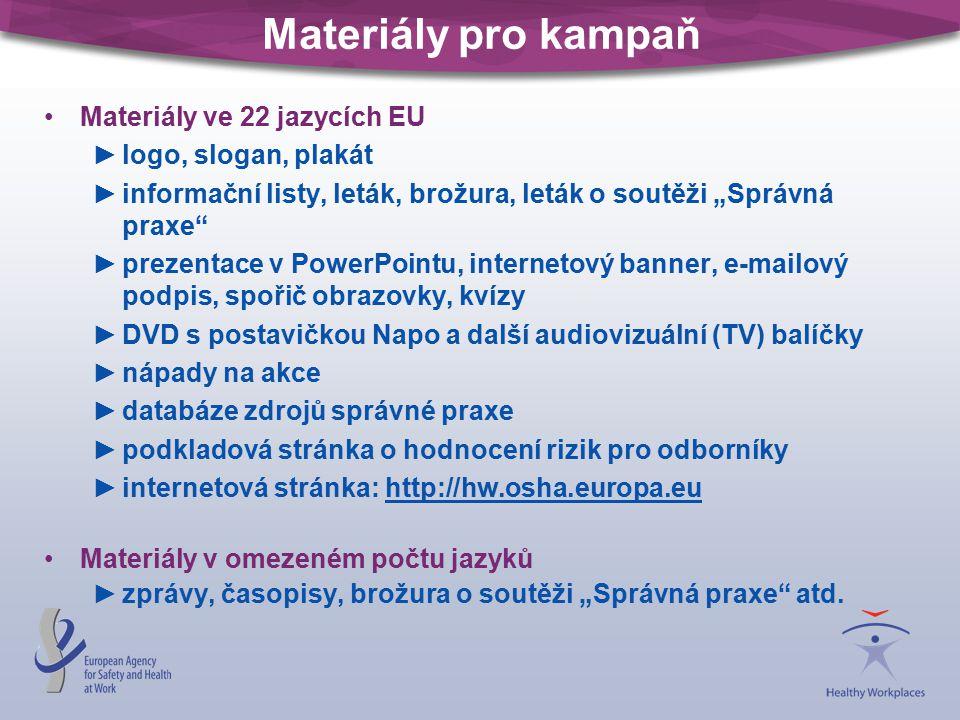 """Materiály pro kampaň Materiály ve 22 jazycích EU ►logo, slogan, plakát ►informační listy, leták, brožura, leták o soutěži """"Správná praxe"""" ►prezentace"""
