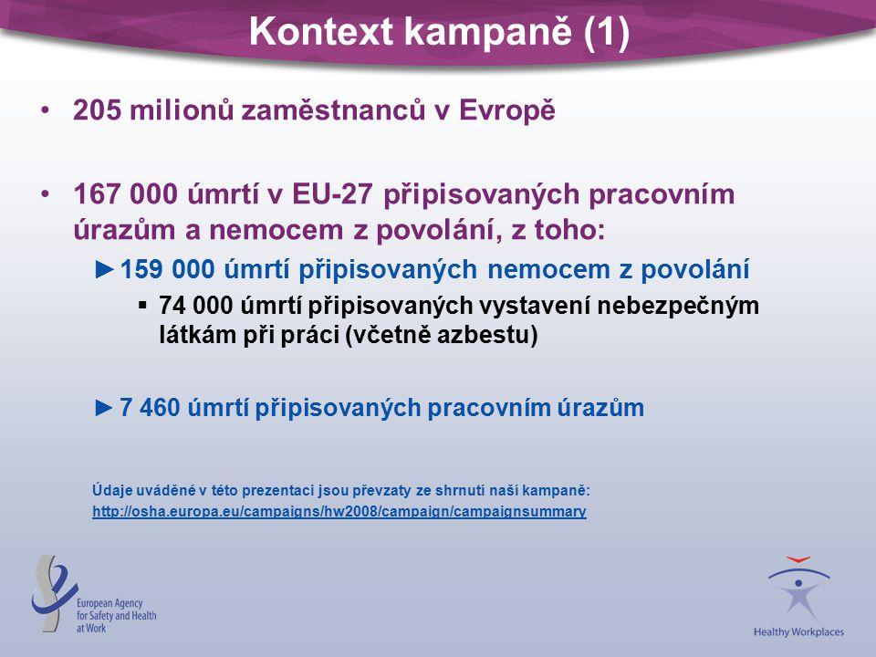 Kontext kampaně (1) 205 milionů zaměstnanců v Evropě 167 000 úmrtí v EU-27 připisovaných pracovním úrazům a nemocem z povolání, z toho: ►159 000 úmrtí připisovaných nemocem z povolání  74 000 úmrtí připisovaných vystavení nebezpečným látkám při práci (včetně azbestu) ►7 460 úmrtí připisovaných pracovním úrazům Údaje uváděné v této prezentaci jsou převzaty ze shrnutí naší kampaně: http://osha.europa.eu/campaigns/hw2008/campaign/campaignsummary