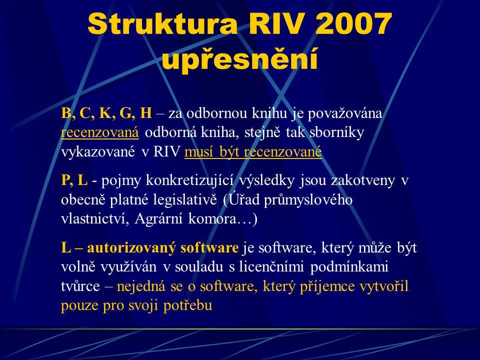 Struktura RIV 2007 upřesnění B, C, K, G, H – za odbornou knihu je považována recenzovaná odborná kniha, stejně tak sborníky vykazované v RIV musí být