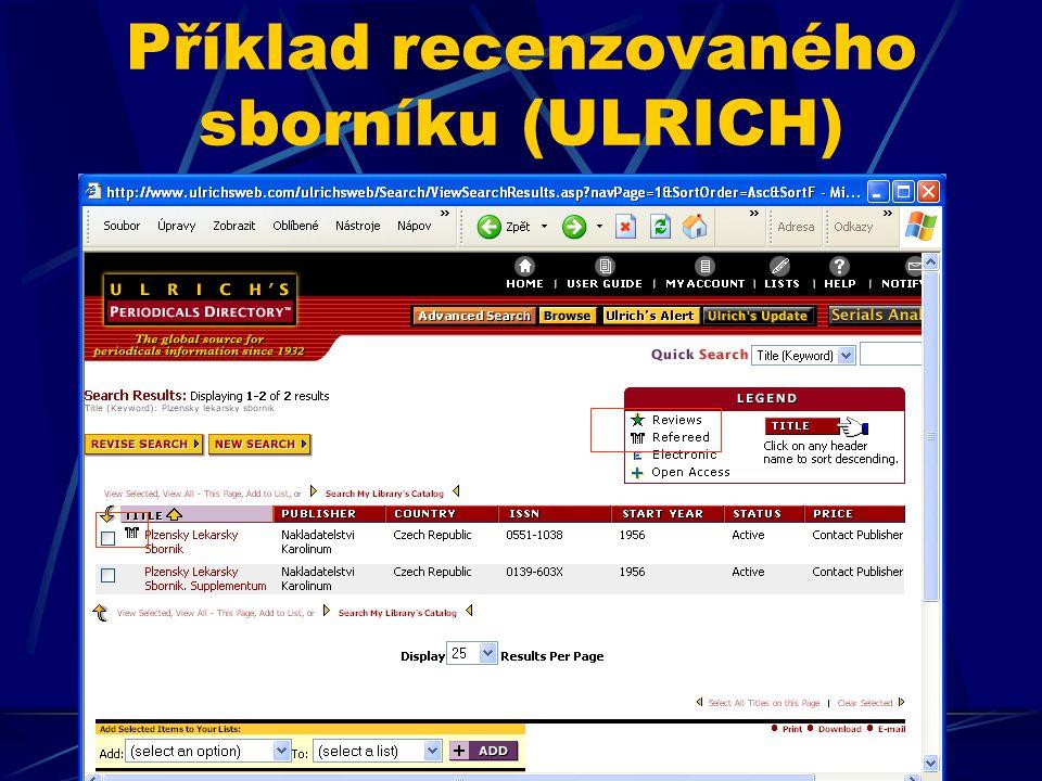 Příklad recenzovaného sborníku (ULRICH)