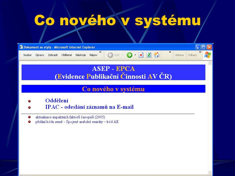 Co nového v systému