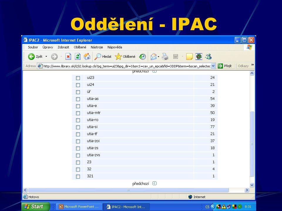 Oddělení - IPAC