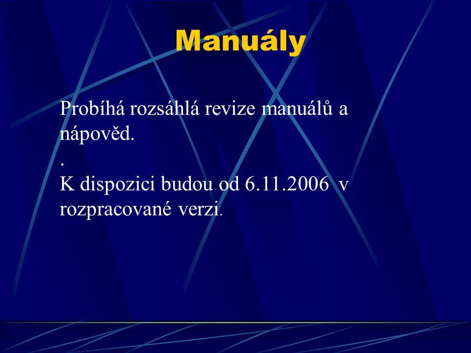 Manuály Probíhá rozsáhlá revize manuálů a nápověd.. K dispozici budou od 6.11.2006 v rozpracované verzi.