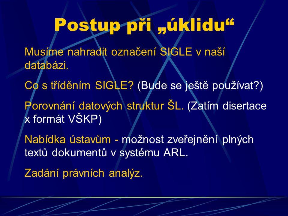 """Postup při """"úklidu"""" Musíme nahradit označení SIGLE v naší databázi. Co s tříděním SIGLE? (Bude se ještě používat?) Porovnání datových struktur ŠL. (Za"""