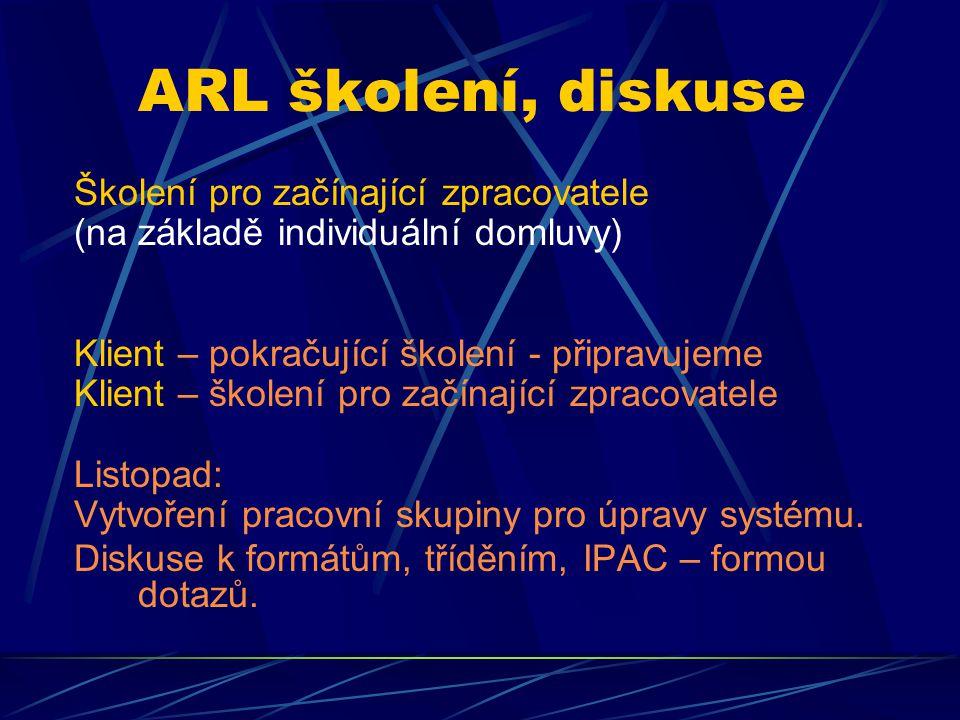 ARL školení, diskuse Školení pro začínající zpracovatele (na základě individuální domluvy) Klient – pokračující školení - připravujeme Klient – školen