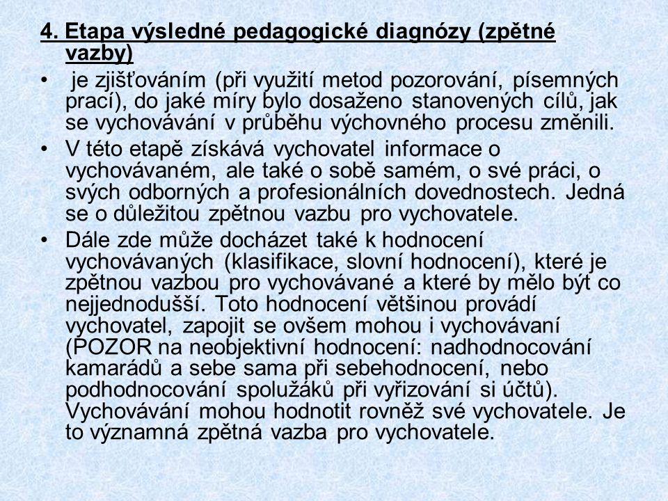 4. Etapa výsledné pedagogické diagnózy (zpětné vazby) je zjišťováním (při využití metod pozorování, písemných prací), do jaké míry bylo dosaženo stano