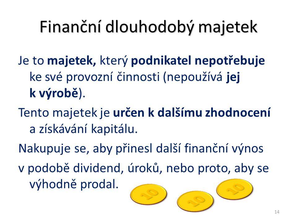 Finanční dlouhodobý majetek Je to majetek, který podnikatel nepotřebuje ke své provozní činnosti (nepoužívá jej k výrobě). Tento majetek je určen k da