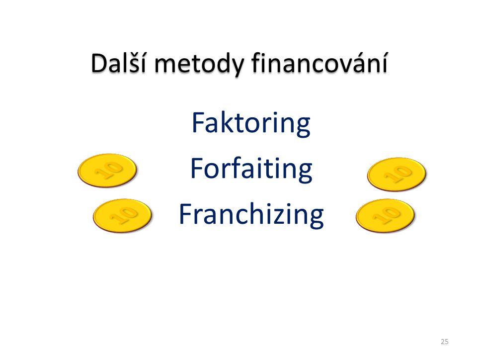 Další metody financování Faktoring Forfaiting Franchizing 25