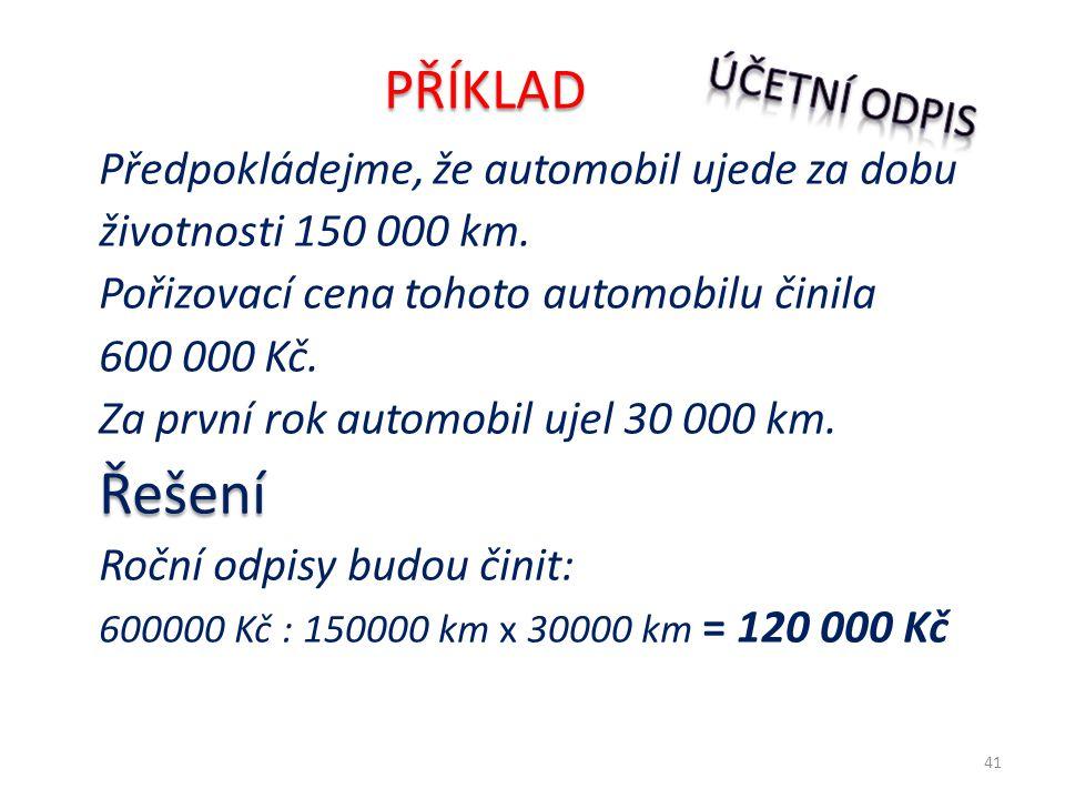 Předpokládejme, že automobil ujede za dobu životnosti 150 000 km. Pořizovací cena tohoto automobilu činila 600 000 Kč. Za první rok automobil ujel 30