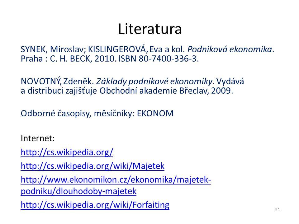 Literatura SYNEK, Miroslav; KISLINGEROVÁ, Eva a kol. Podniková ekonomika. Praha : C. H. BECK, 2010. ISBN 80-7400-336-3. NOVOTNÝ, Zdeněk. Základy podni