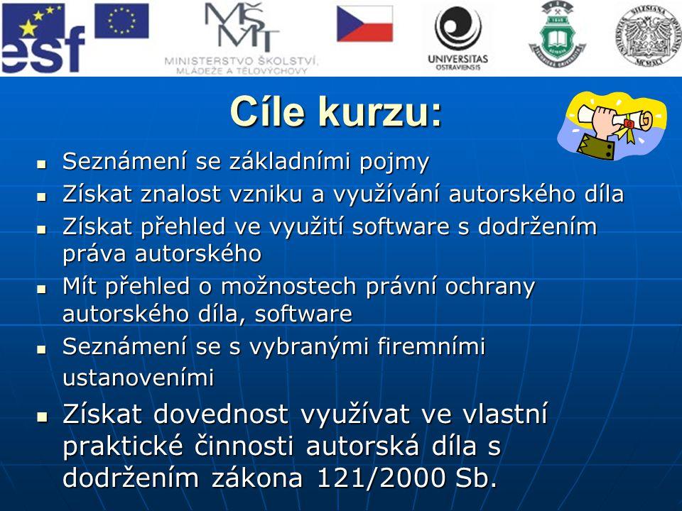 Základní pojmy Základní pojmy Právní ochrana díla Právní ochrana díla Právní ochrana software Právní ochrana software Právní ochrana