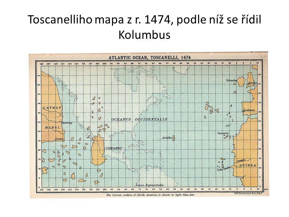 Toscanelliho mapa z r. 1474, podle níž se řídil Kolumbus