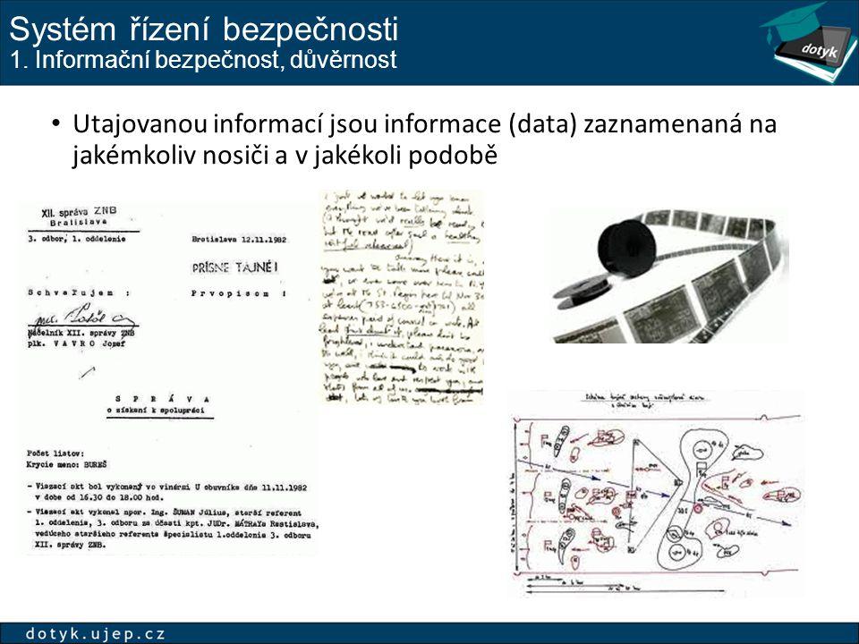 Systém řízení bezpečnosti 1. Informační bezpečnost, důvěrnost Utajovanou informací jsou informace (data) zaznamenaná na jakémkoliv nosiči a v jakékoli