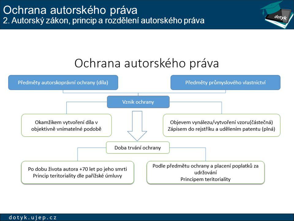 Ochrana autorského práva 2. Autorský zákon, princip a rozdělení autorského práva