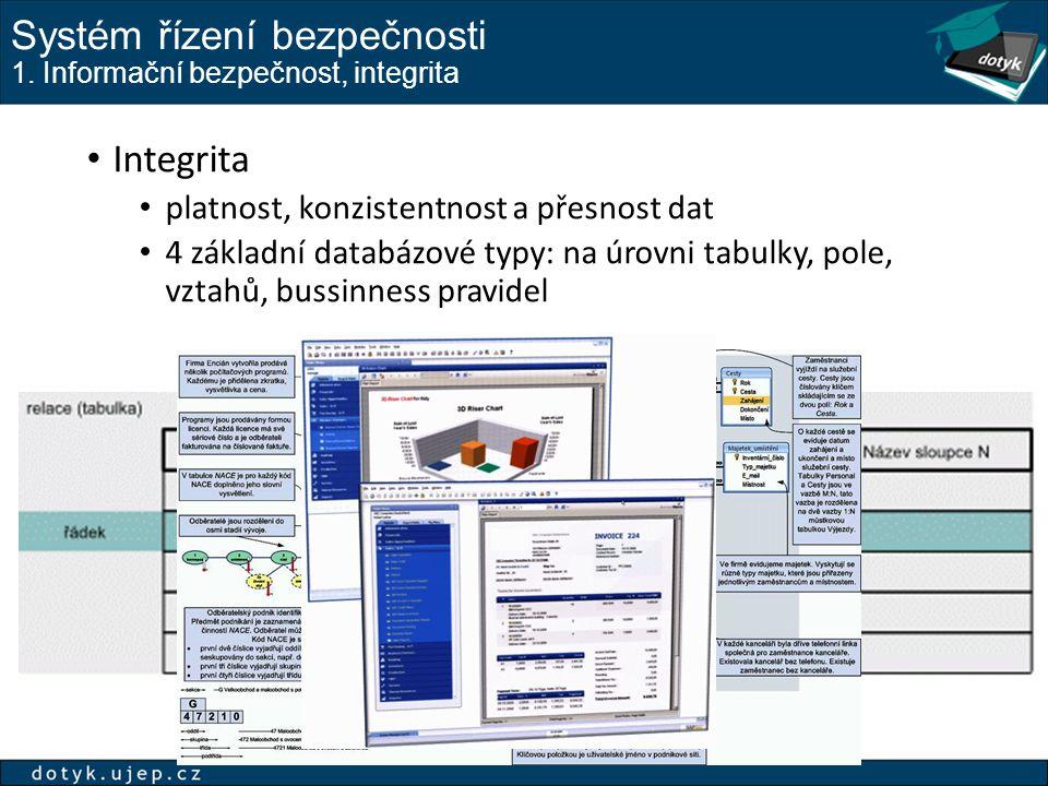 Systém řízení bezpečnosti 1. Informační bezpečnost, integrita Integrita platnost, konzistentnost a přesnost dat 4 základní databázové typy: na úrovni