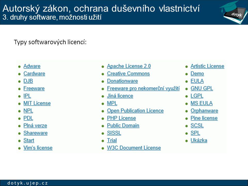 Autorský zákon, ochrana duševního vlastnictví 3. druhy software, možnosti užití Typy softwarových licencí:
