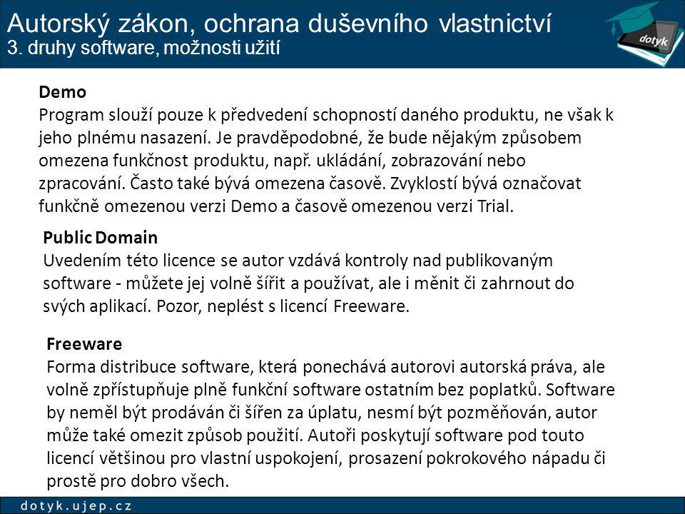 Autorský zákon, ochrana duševního vlastnictví 3. druhy software, možnosti užití Demo Program slouží pouze k předvedení schopností daného produktu, ne