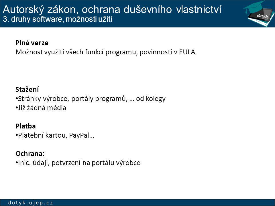 Autorský zákon, ochrana duševního vlastnictví 3. druhy software, možnosti užití Plná verze Možnost využití všech funkcí programu, povinnosti v EULA St