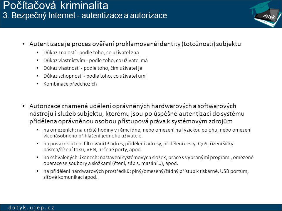 Počítačová kriminalita 3. Bezpečný Internet - autentizace a autorizace Autentizace je proces ověření proklamované identity (totožnosti) subjektu Důkaz