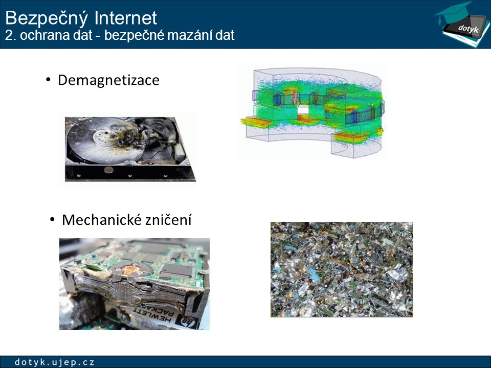Bezpečný Internet 2. ochrana dat - bezpečné mazání dat Demagnetizace Mechanické zničení