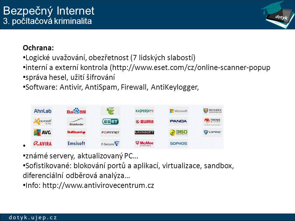 Bezpečný Internet 3. počítačová kriminalita Ochrana: Logické uvažování, obezřetnost (7 lidských slabostí) interní a externí kontrola (http://www.eset.