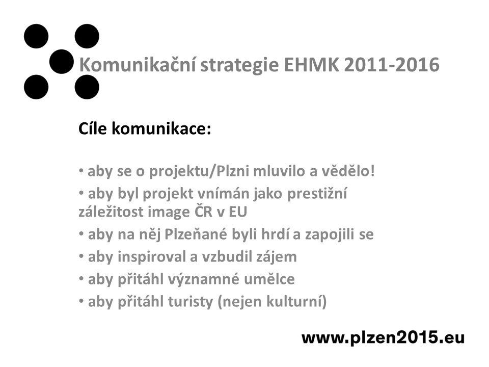 Komunikační strategie EHMK 2011-2016 Cíle komunikace: aby se o projektu/Plzni mluvilo a vědělo.