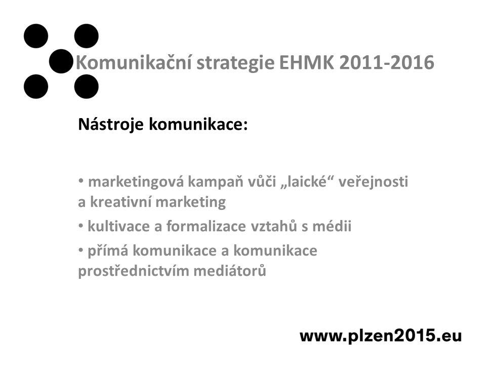 """Komunikační strategie EHMK 2011-2016 Nástroje komunikace: marketingová kampaň vůči """"laické veřejnosti a kreativní marketing kultivace a formalizace vztahů s médii přímá komunikace a komunikace prostřednictvím mediátorů"""