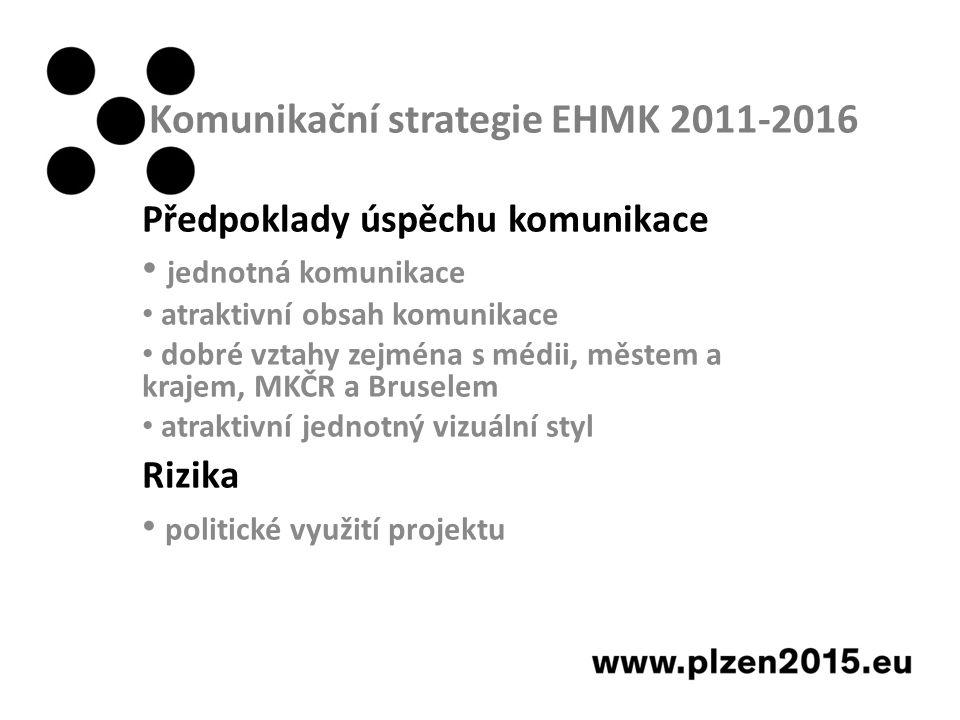 Komunikační strategie EHMK 2011-2016 Předpoklady úspěchu komunikace jednotná komunikace atraktivní obsah komunikace dobré vztahy zejména s médii, městem a krajem, MKČR a Bruselem atraktivní jednotný vizuální styl Rizika politické využití projektu